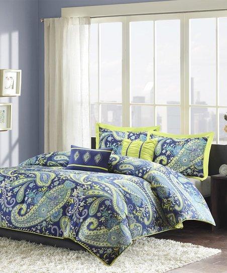 Main Green Lime Green Blue Paisley Five Piece Comforter Set