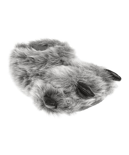 Gray Bear Claw Slippers - Kids