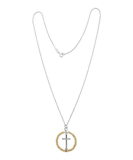 Two Tone Circle Cross Pendant Necklace