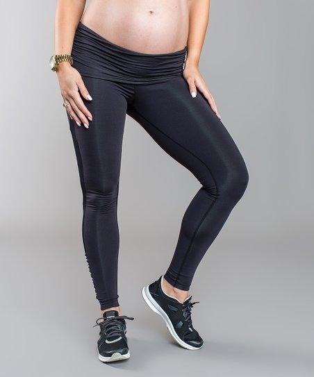 3005ed37f2d705 Cozy Orange Raven Black Mesh-Accent Juno Maternity Leggings | Zulily