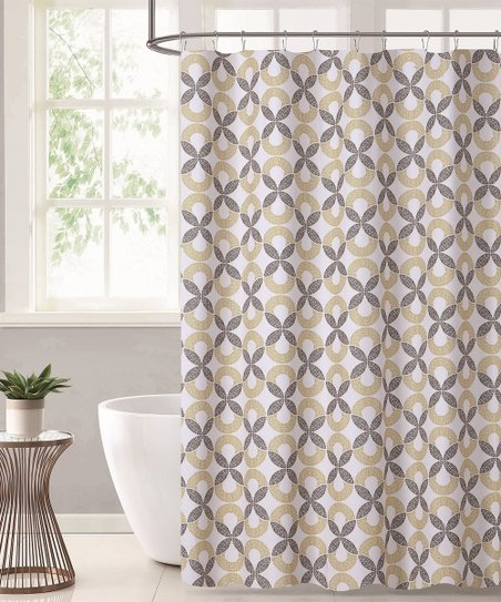 Beige Gray Geometric Shower Curtain