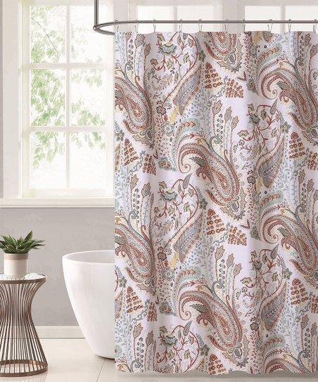 Pink Burgundy Paisley Shower Curtain