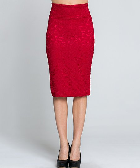 a96222d406dd love this product Red Lace Pencil Skirt