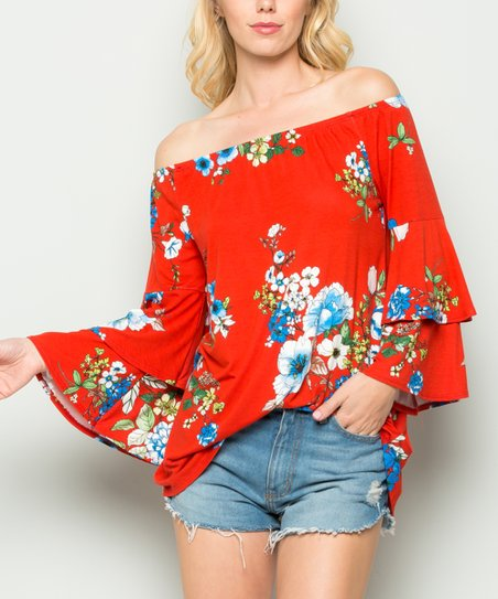185509d1671ba love this product Red   Blue Bell-Sleeve Off-Shoulder Top - Women
