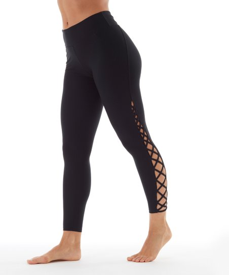 83dd1ac536b101 love this product Black Lace-Up Leggings - Women