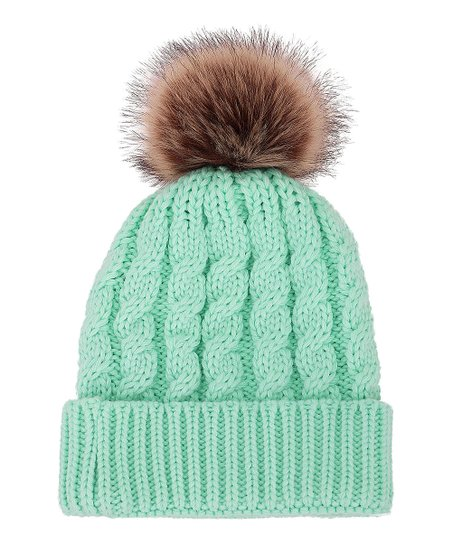 love this product Light Green Cable-Knit Faux-Fur Pom-Pom Beanie - Women f328da70a3d