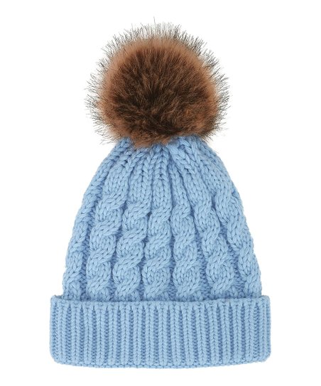 51631e3a494f love this product Light Blue Cable-Knit Faux-Fur Pom-Pom Beanie - Women
