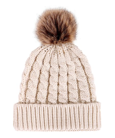 be931f158e2 love this product Cream Cable-Knit Faux-Fur Pom-Pom Beanie - Women