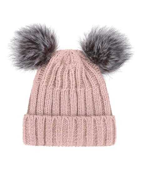 8dc7eb9d062 love this product Pink   Gray Cable-Knit Faux-Fur Pom-Pom Ear Beanie