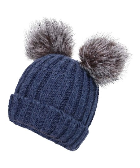 209a2c83266 love this product Navy Cable-Knit Faux-Fur Pom-Pom Ear Beanie