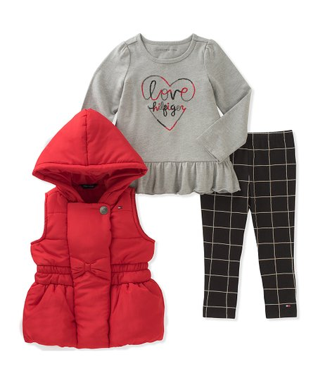 04d8b65db35d love this product Red Bow Hooded Puffer Vest Set - Infant