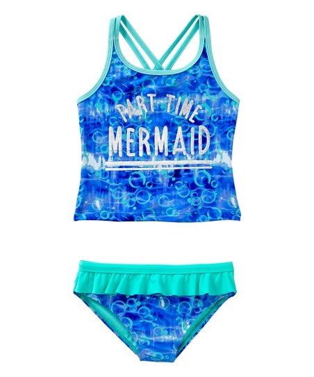 8c9fcc2430613 love this product Blue 'Part Time Mermaid' Ruffle Tankini Top & Bottoms -  Girls