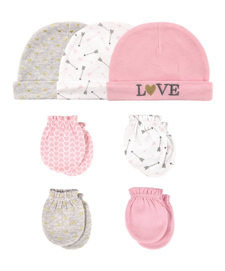 love this product Pink  Love  Beanie   Scratch Mitten Set - Newborn f7e42dfff