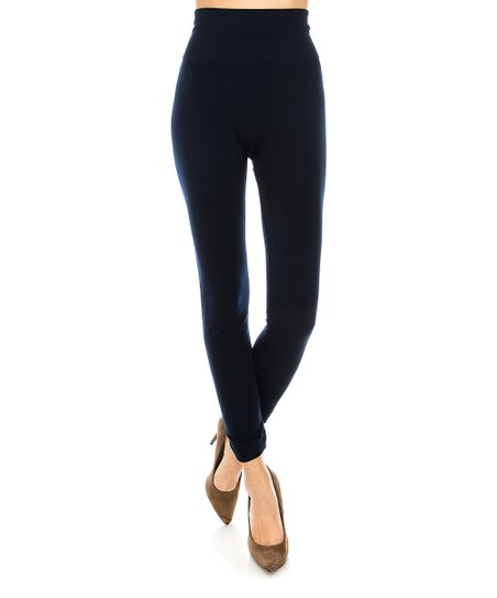 b632ff422d6894 love this product Navy Fleece-Lined High-Waist Legging - Plus