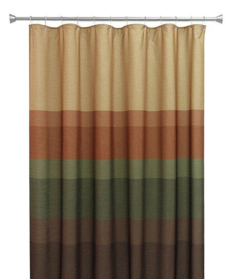 Beige Forest Green Spice Textured Layer Shower Curtain