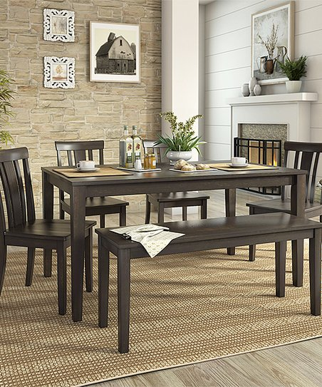 HomeBelle Black Slat Back Chair Six Piece Dining Table Set