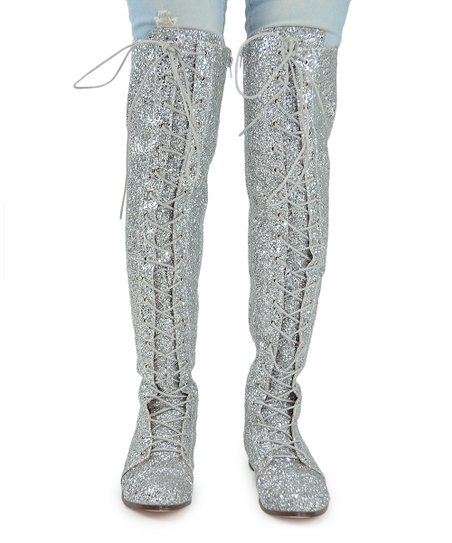b878b74d119 love this product Silver Glitter Maggy Over-the-Knee Boots - Women