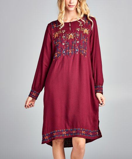 ac207409153 Spicy Mix Burgundy Embroidered Hi-Low Dress - Women