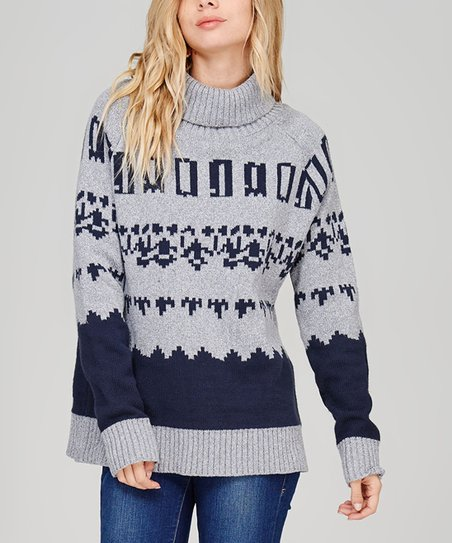 f9ad015e0616 COZY CASUAL Gray & Navy Geometric Sweater | Zulily