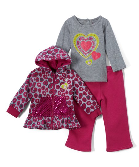 471ab82c20f8 love this product Pink & Gray Leopard-Print Fleece Zip-Up Hoodie Set -  Infant