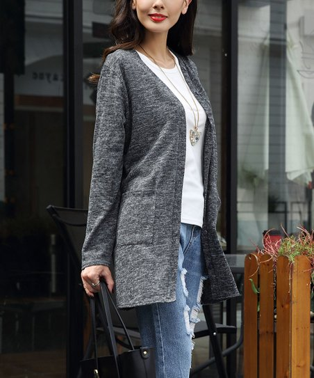 c8107933cd love this product Dark Gray Button-Up V-Neck Cardigan - Women
