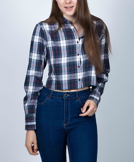 f6ae3ae9 Given Kale Dark Blue Plaid Cropped Button-Up - Women | Zulily