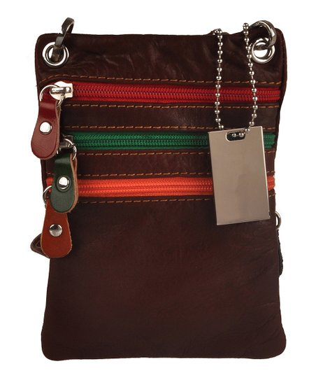 c4da59496a7 Emilio Masi Dark Brown Contrast Triple-Zip Slim Leather Crossbody ...