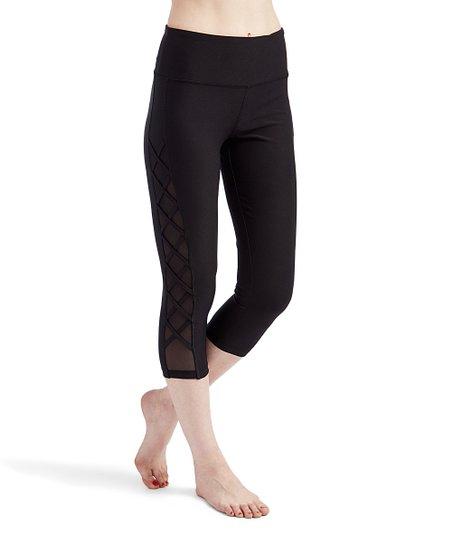 d168e43c3c VOGO Black Side-Lattice Capri Leggings - Women | Zulily