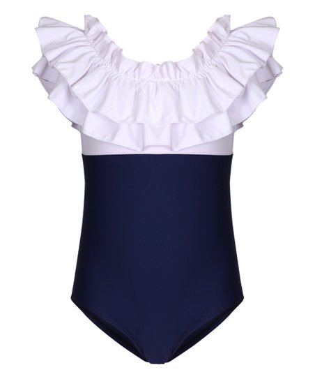 2e8d2ba49d3 Mia Belle Girls White & Navy Colorblock One-Piece - Toddler & Girls ...