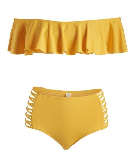 c1a89b07d88 love this product Yellow Off-Shoulder High-Waist Bikini Top & Bottoms -  Women