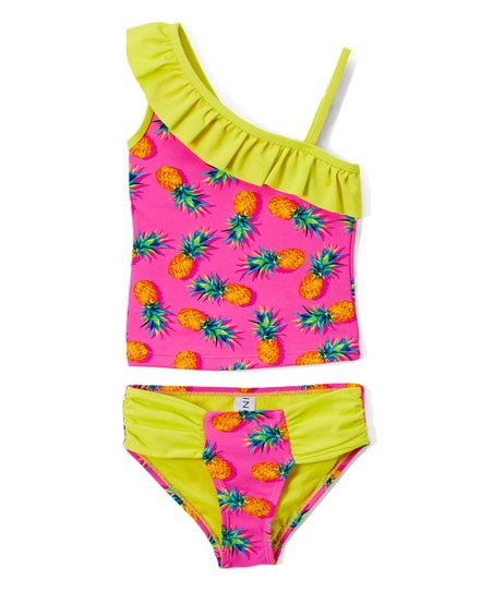 0dc0c9e610146 love this product Pink   Yellow Pineapple Ruffle Tankini Top   Bottoms -  Girls