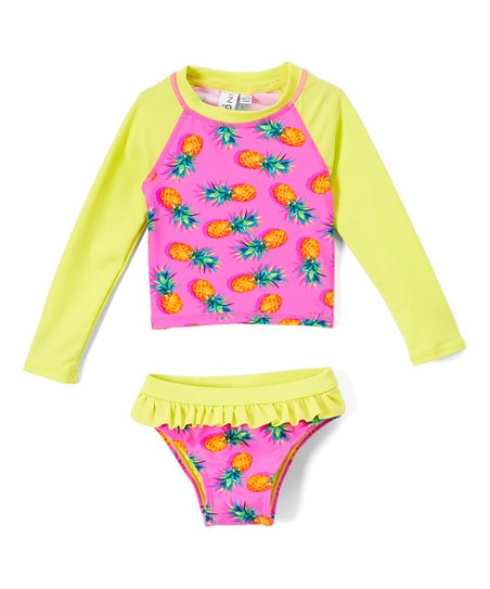 8127d10d55260 love this product Pink   Yellow Pineapple Rashguard Set - Infant