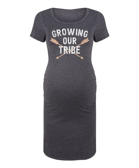 3c9b3c423 Bloom Maternity Heather Charcoal Growing Our Tribe Maternity T-Shirt ...