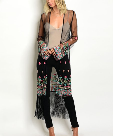 040ea1cb609 love this product Black Sheer Floral-Embroidered Fringe-Hem Duster - Women