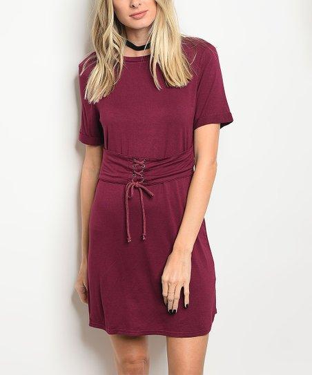 1307cb16073c love this product Wine Corset T-Shirt Dress - Women