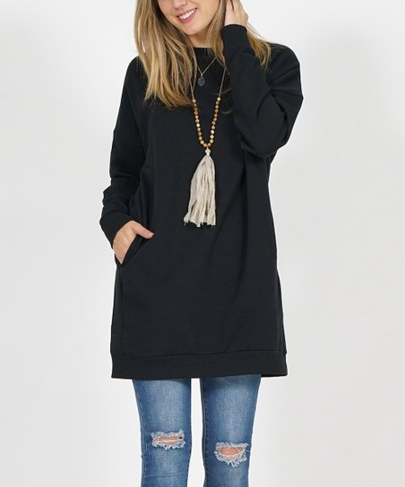 6d57553acb0 love this product Black Side-Pocket Oversize Fleece Tunic