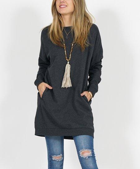 da459f347b6 love this product Ash Gray Side-Pocket Oversize Fleece Tunic