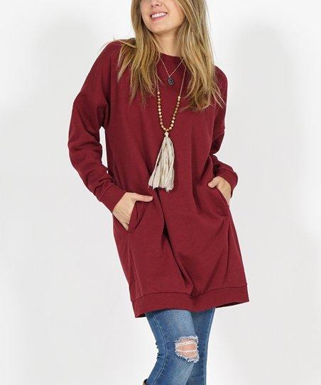 bae82f74767 love this product Burgundy Side-Pocket Oversize Fleece Tunic - Women