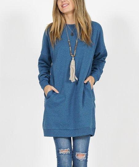 34651330d88 love this product Blue Mist Side-Pocket Oversize Fleece Tunic - Women