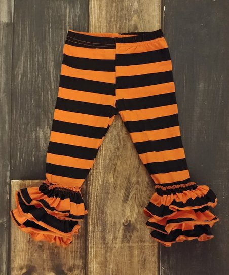 ae03ecfe0fba7 Ava Grace Boutique Orange & Black Stripe Ruffle Leggings - Girls ...