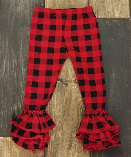 f378883547d95 Ava Grace Boutique Red Buffalo Check Ruffle Leggings - Girls | Zulily