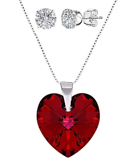 Red Heart Necklace Earring Set With Swarovski Crystals