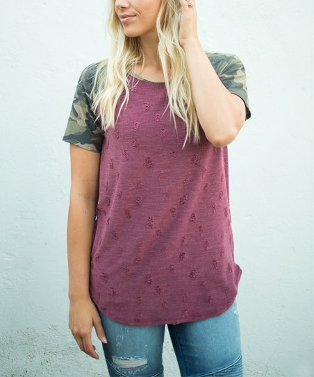 4e724f9e Olivia & Jane Wine Camo Distressed Tee - Women | Zulily