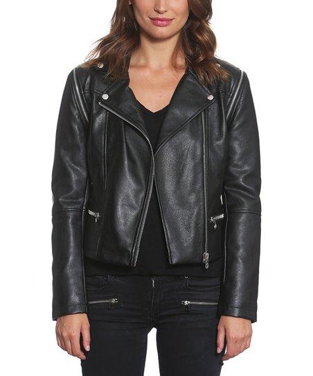 3735e3cd Members Only Black Faux Leather Biker Jacket - Women | Zulily