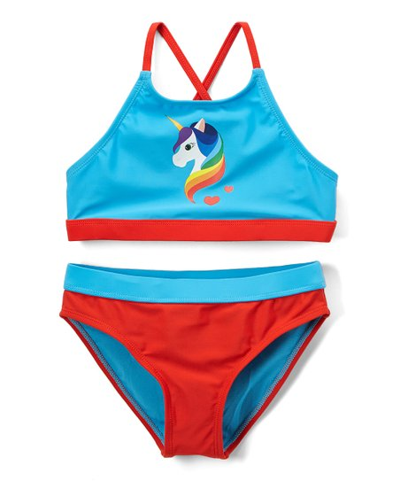 cfda6ab122 love this product Blue & Red Unicorn High-Neck Bikini Top & Bottoms - Girls