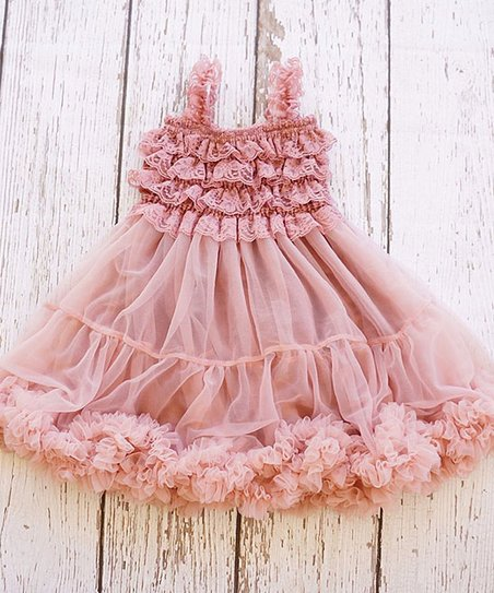 66109115a82 love this product Dusty Rose Chiffon Ruffle-Hem Dress - Infant