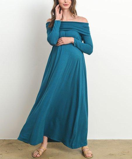 81c69ca34ff02 Hello Miz Maternity Teal Off-Shoulder Maternity Maxi Dress   Zulily