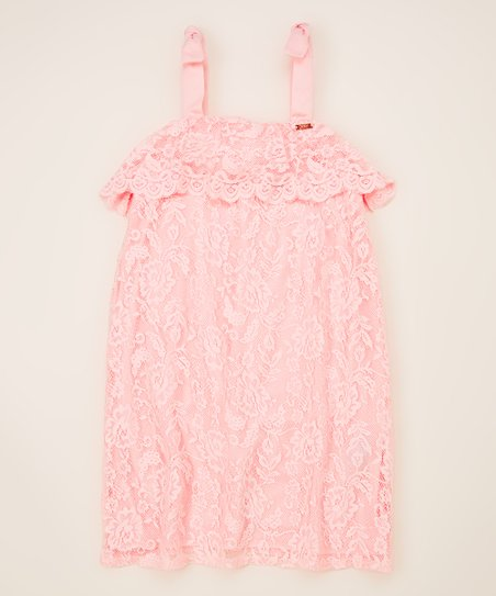 Dkny Seashell Pink Lace Overlay Shift Dress Girls