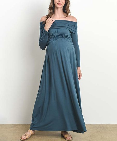 5562ce2afe2a5 Hello Miz Maternity Turquoise Off-Shoulder Maternity Maxi Dress   Zulily