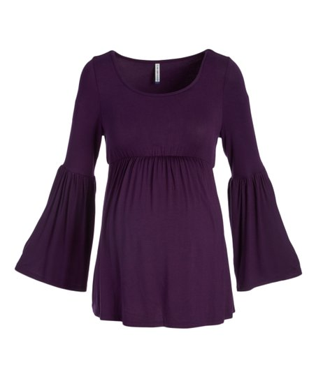 9f73af81dd2e88 Mom & Co Dark Purple Bell-Sleeve Scoop Neck Maternity Top | Zulily